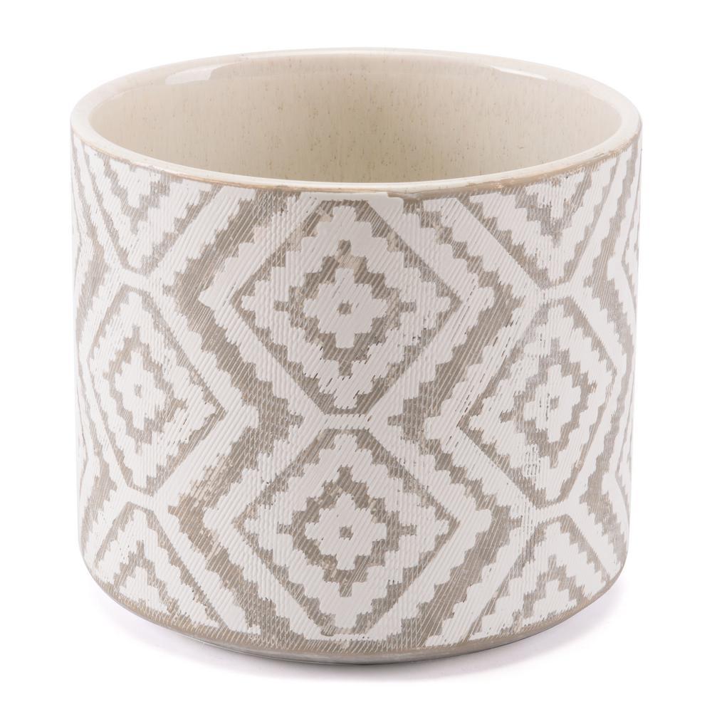 Indio 8.9 in. W x 7.9 in. H White and Gray Ceramic Planter