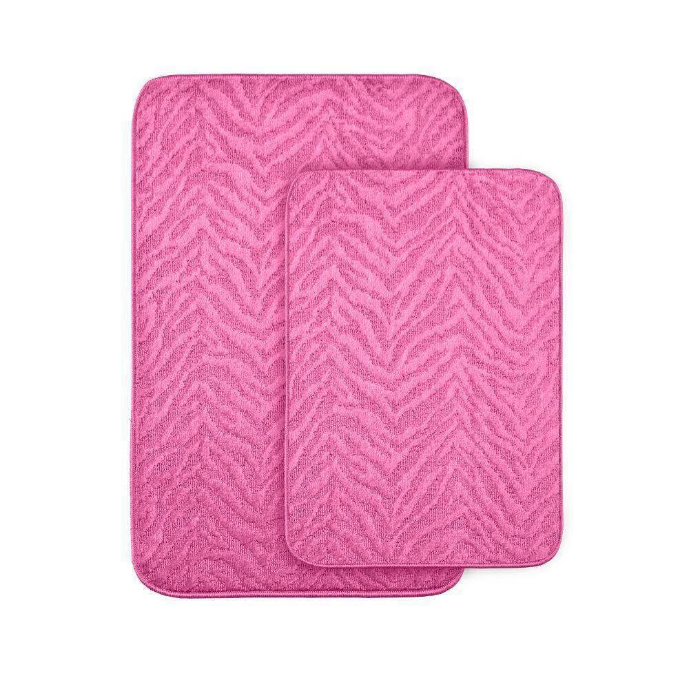 Zebra Pink 20 in x 30 in. Washable Bathroom 2 -Piece Rug Set