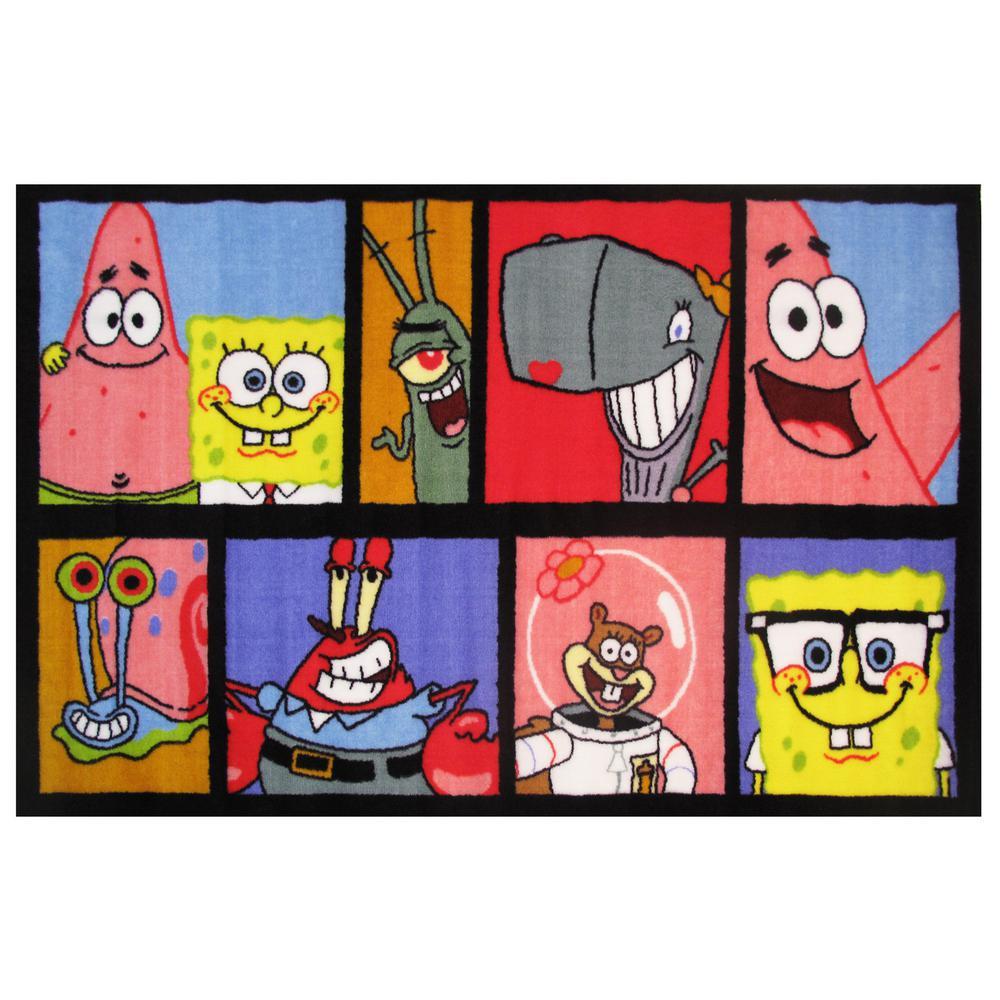 Fun Rugs Nickelodeon SpongeBob Comic Gray/Yellow 1 ft. 7 in. x 2 ft. 5 in.  Kids Rugs