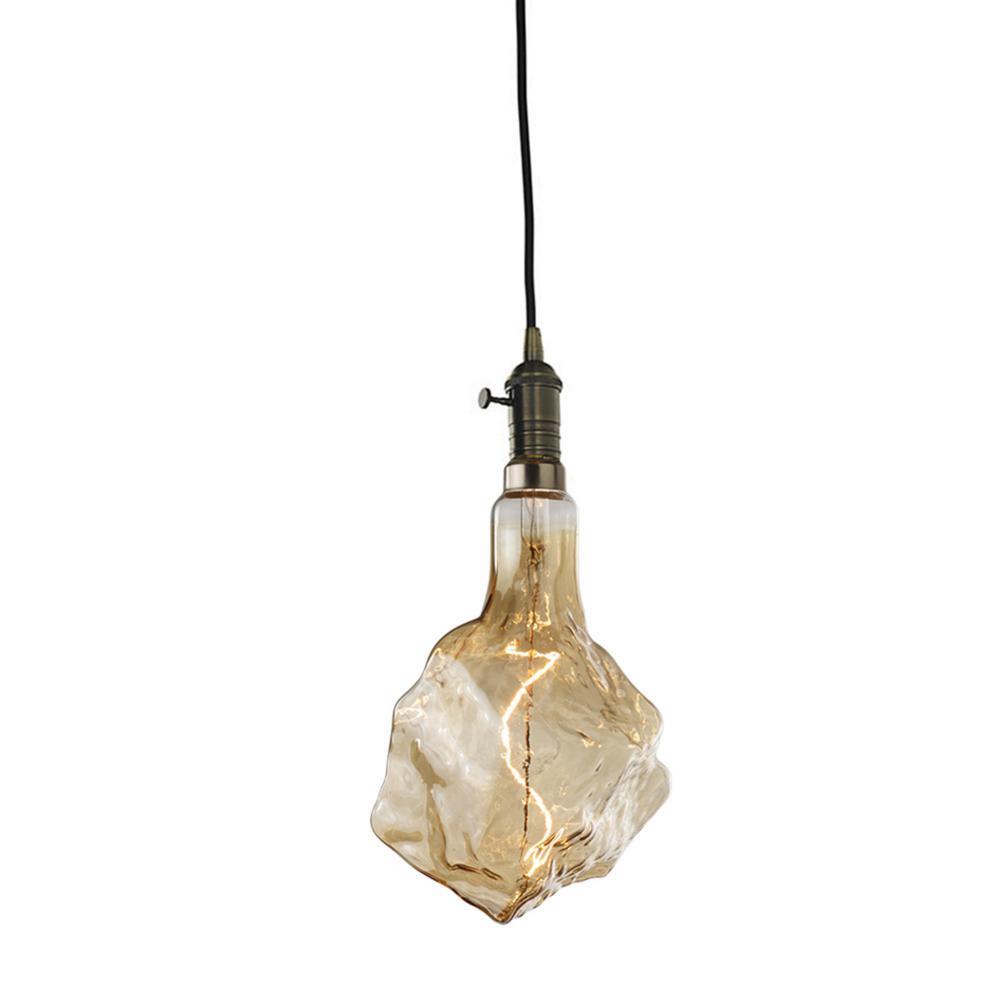 1-Light Vintage Bronze Pendant Socket and Canopy with LED 4-Watt Iceburg Shaped Grand Nostalgic Light Bulb