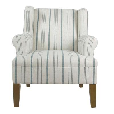 Striped Blue Calypso Poly-Linen Emerson Rolled Arm Accent Chair