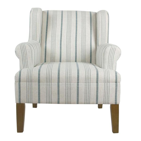 Accent Chair With Big Thick Blue Stripe: Homepop Blue Buffalo Plaid Modern Swoop Arm Accent Chair