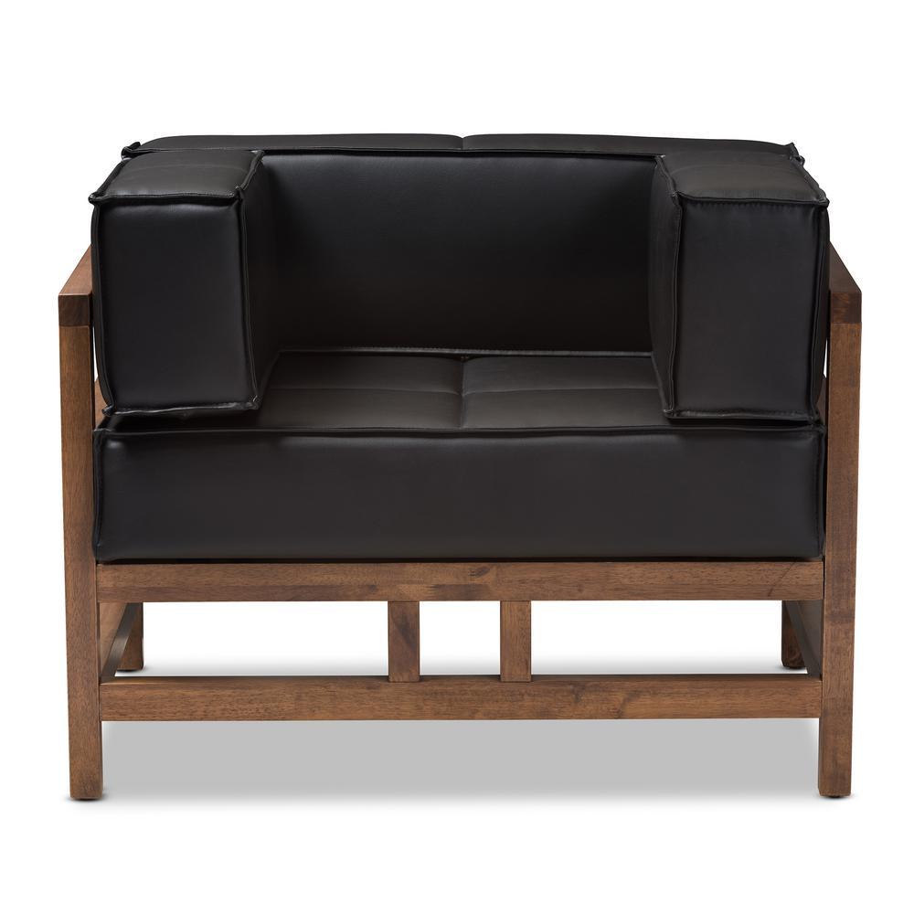 Baxton Studio Shaw Black Faux Leather Arm Chair 28862-7924-HD