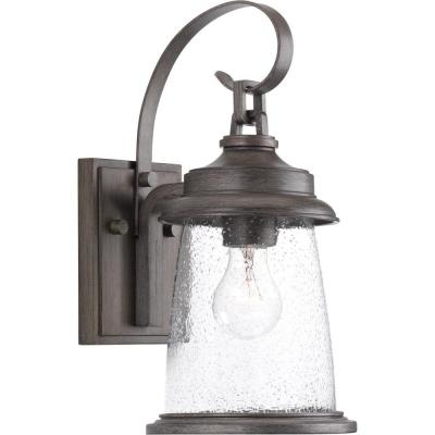 Conover Collection 1-Light Antique Pewter 14.25 in. Outdoor Wall Lantern Sconce