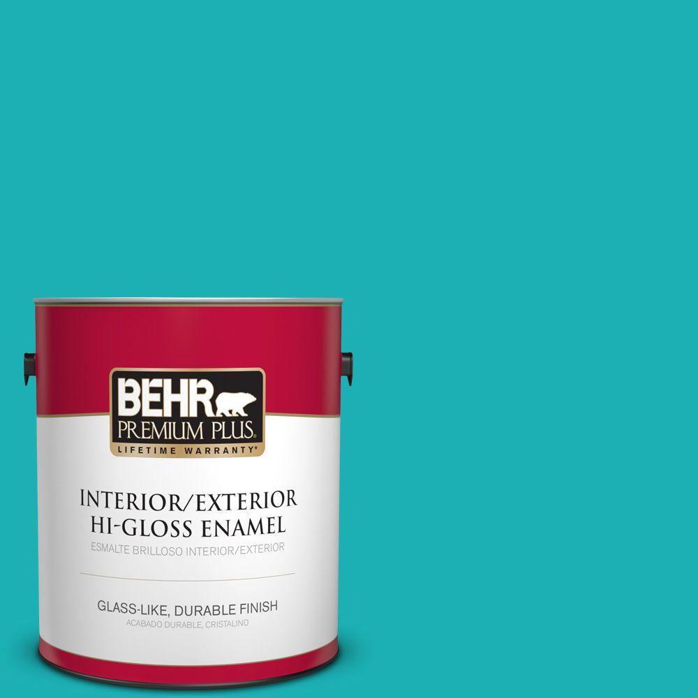 1 gal. #HDC-SP16-06 Larkspur Blue Hi-Gloss Enamel Interior/Exterior Paint