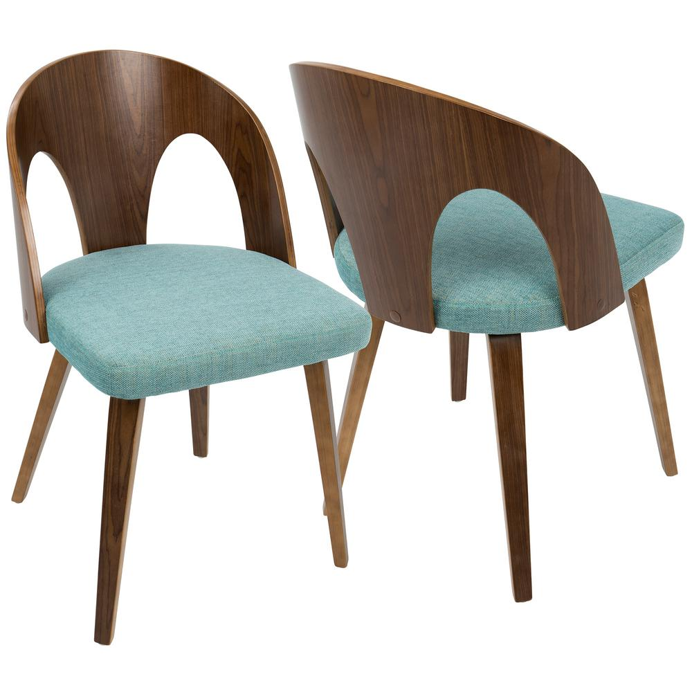 Lumisource ava mid century walnut and teal modern dining
