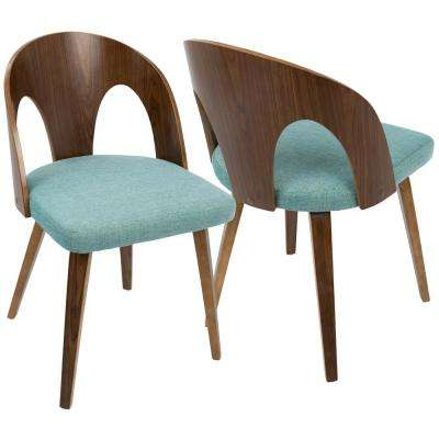 Ava Mid-Century Walnut and Teal Modern Dining Chair