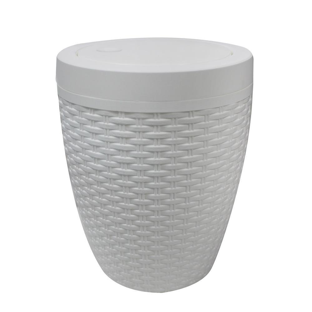 Modern Homes Round Bath Bin in White