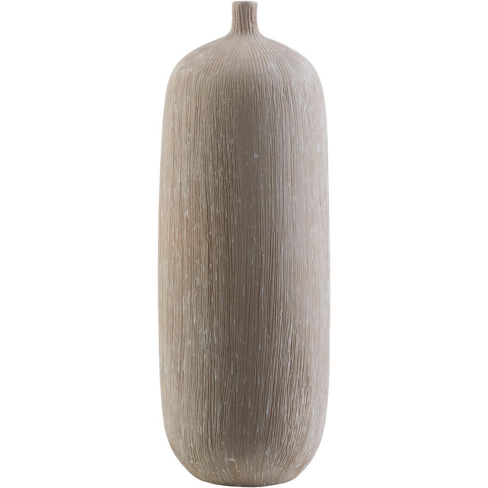 Ioma 12.4 in. Taupe Ceramic Decorative Vase
