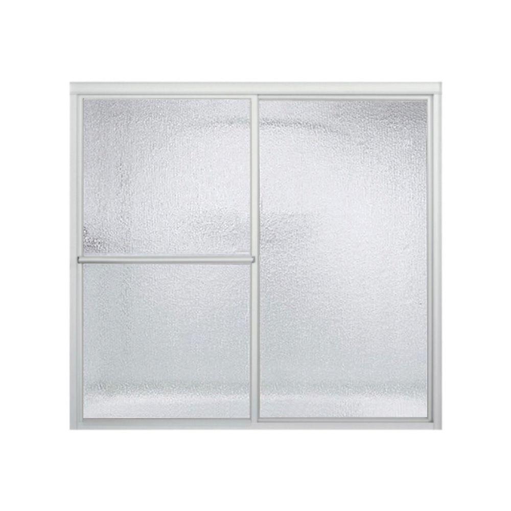 STERLING Deluxe 56-1/4 in. x 55-1/4 in. Framed Sliding Tub Door Door in Silver with Rain Glass Texture