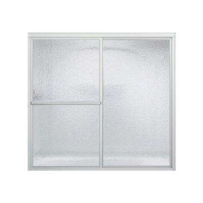 Deluxe 56-1/4 in. x 55-1/4 in. Framed Sliding Tub Door in Silver with Handle