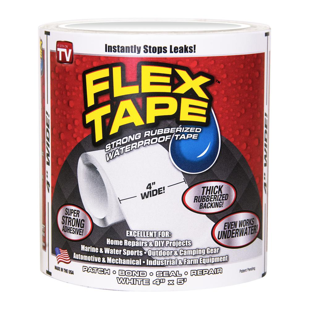 FLEX SEAL FAMILY OF PRODUCTS Flex Tape White 4 in. x 5 ft. Strong Rubberized Waterproof Tape