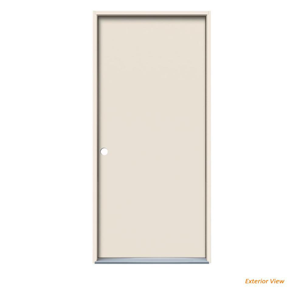 28 In X 80 Flush Primed Steel Prehung Right Hand Inswing Front Door