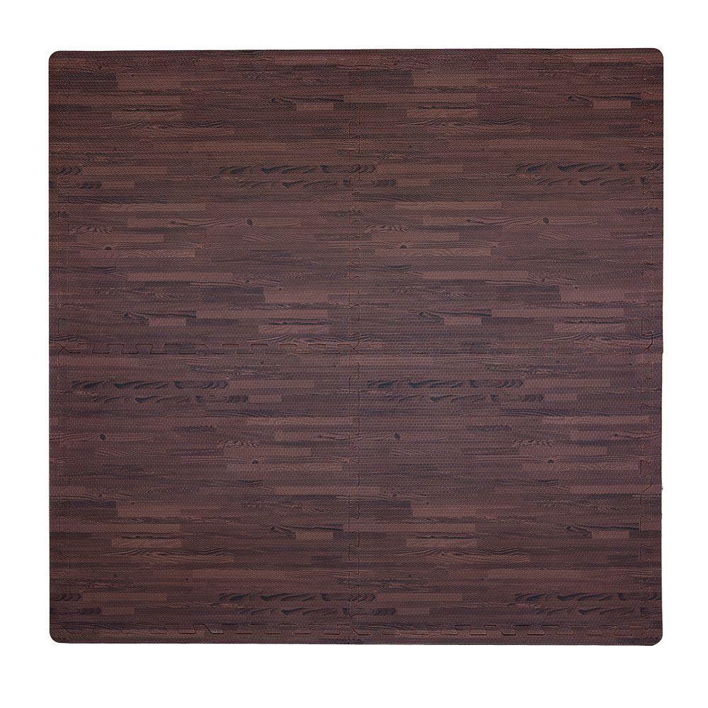 Wood Print Cherry 50 in. x 50 in. EVA Floor Mat Set