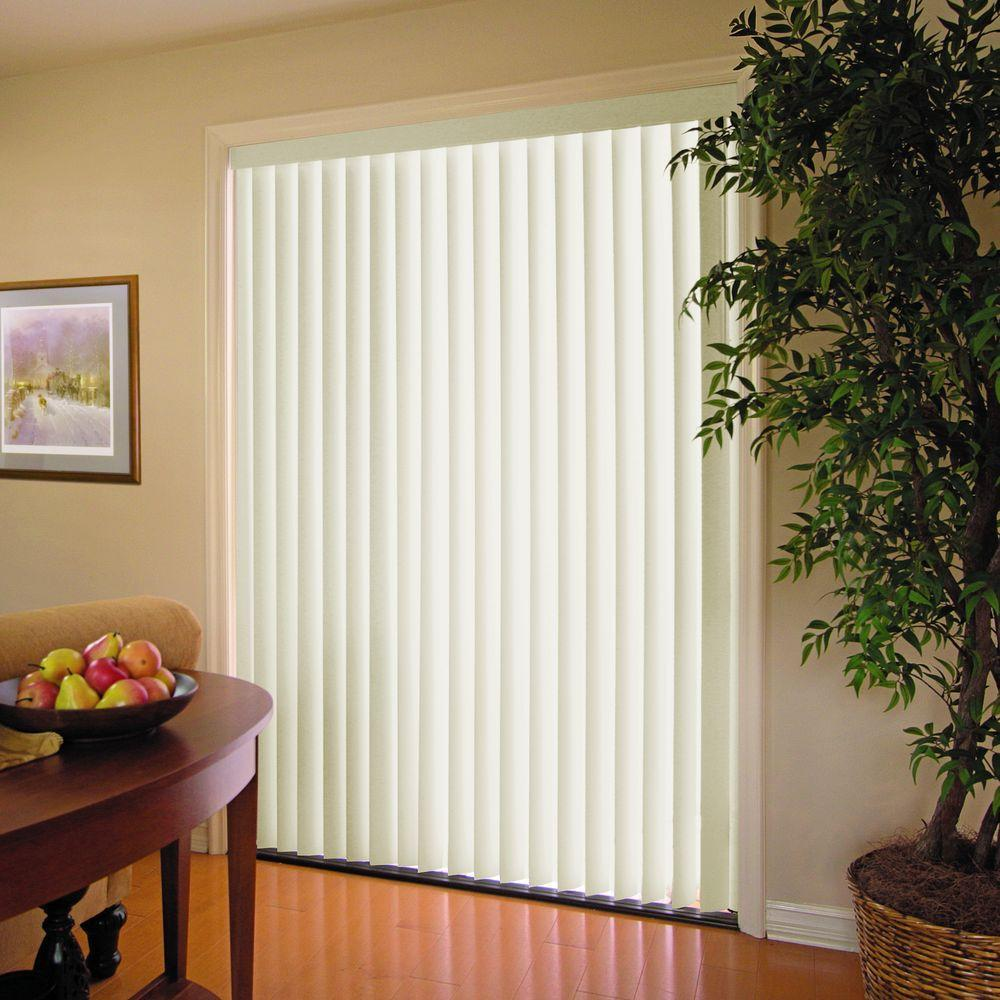 window blinds home depot Alabaster 3.5 in. PVC Vertical Blind   78 in. W x 84 in. L  window blinds home depot