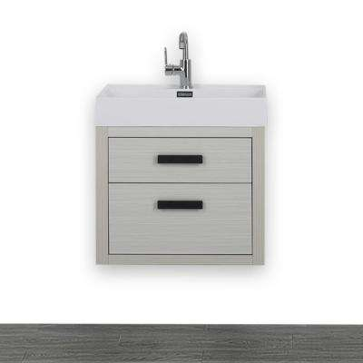 23.6 in. W x 19.3 in. H Bath Vanity in Gray with Resin Vanity Top in White with White Basin