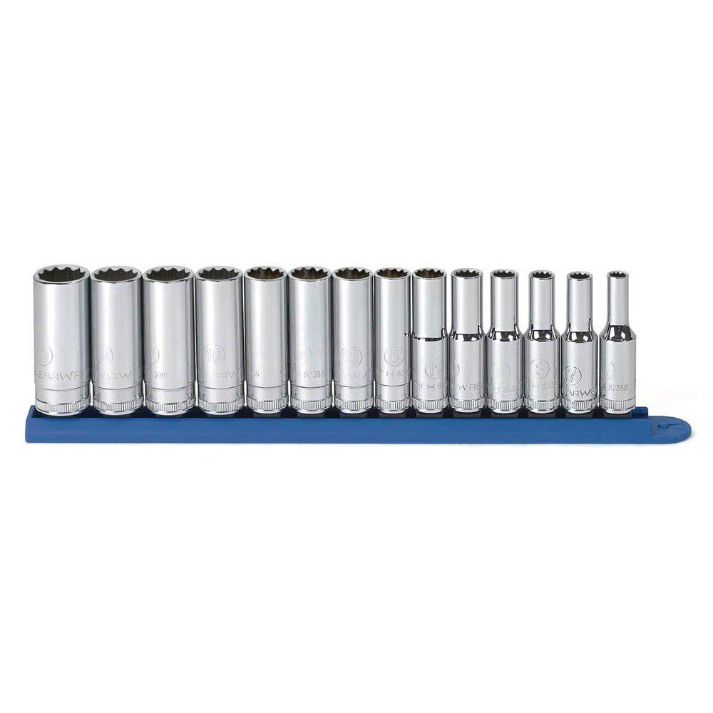 GearWrench 3/8 in. Drive Metric 12-Point Deep Socket Set (14-Piece)
