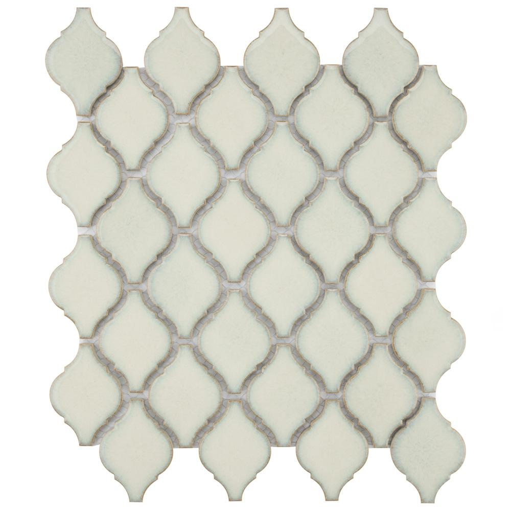 Merola Tile Arabesque Selene 9-7/8 in. x 11-1/8 in. x 6 mm Porcelain Mosaic Tile