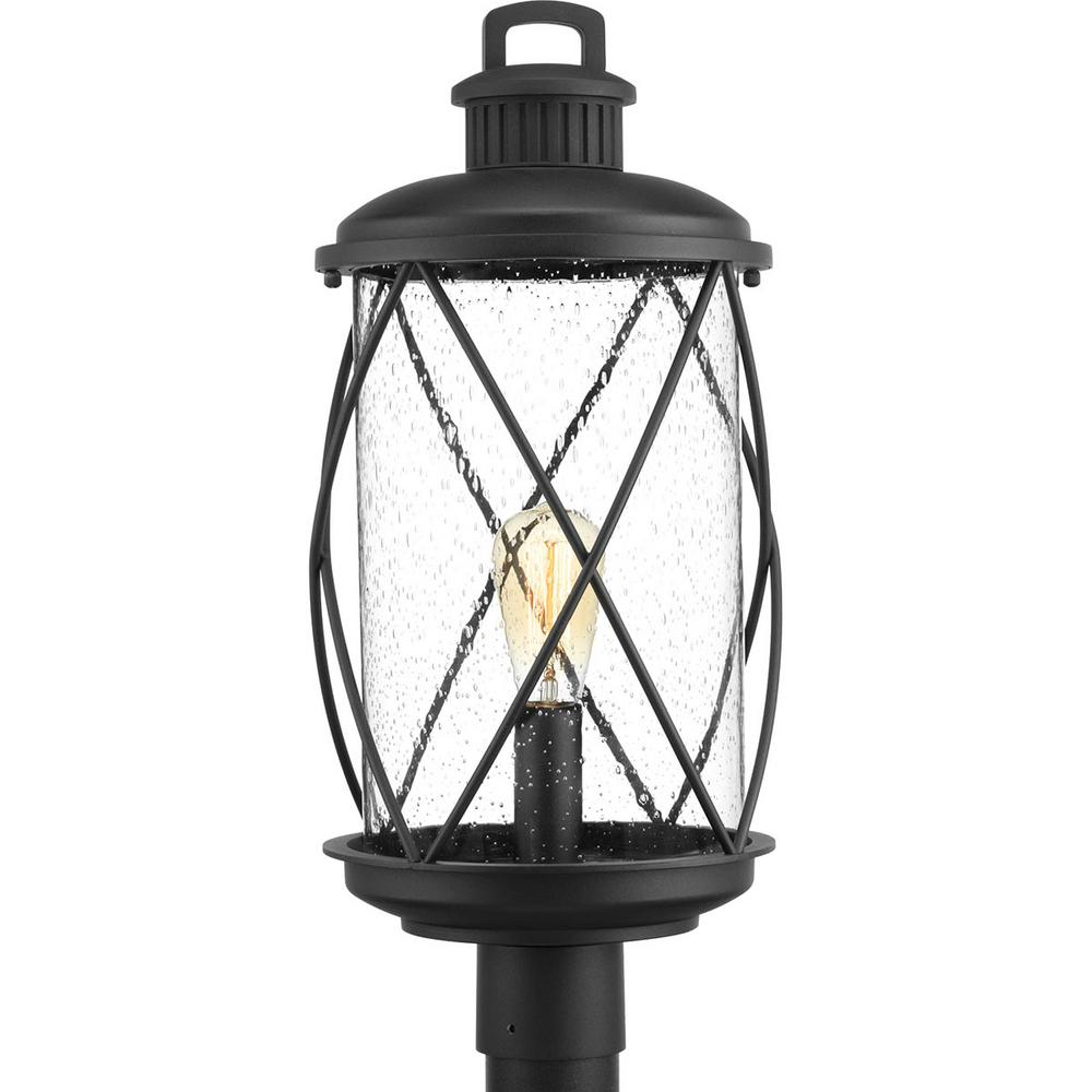 Progress Lighting Hollingsworth Collection 1-Light Outdoor Black Post Lamp
