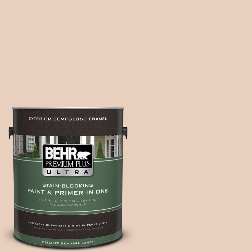 BEHR Premium Plus Ultra 1-gal. #PPL-61 Spiced Beige Semi-Gloss Enamel Exterior Paint