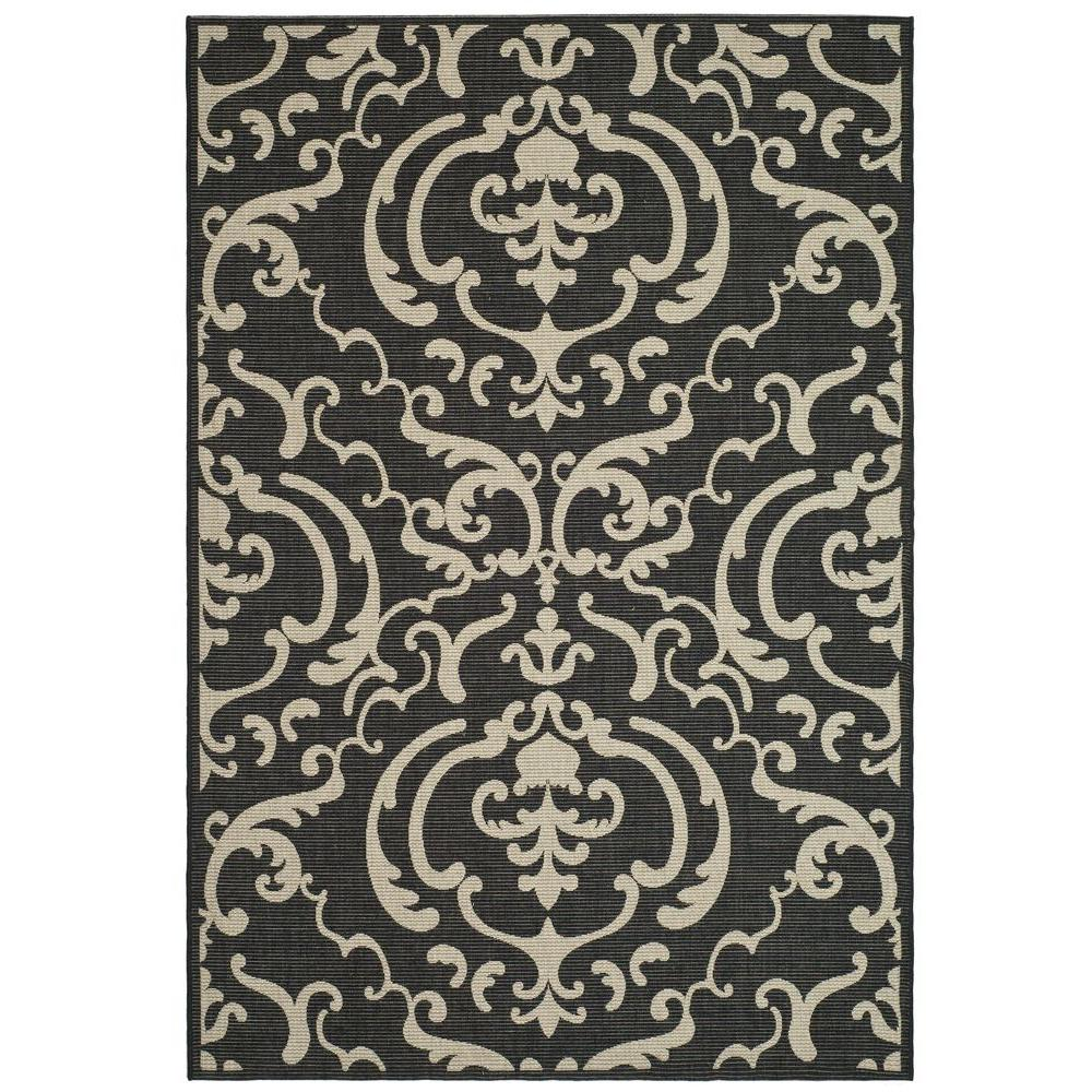 Courtyard Black/Sand 6 ft. 7 in. x 9 ft. 6 in.