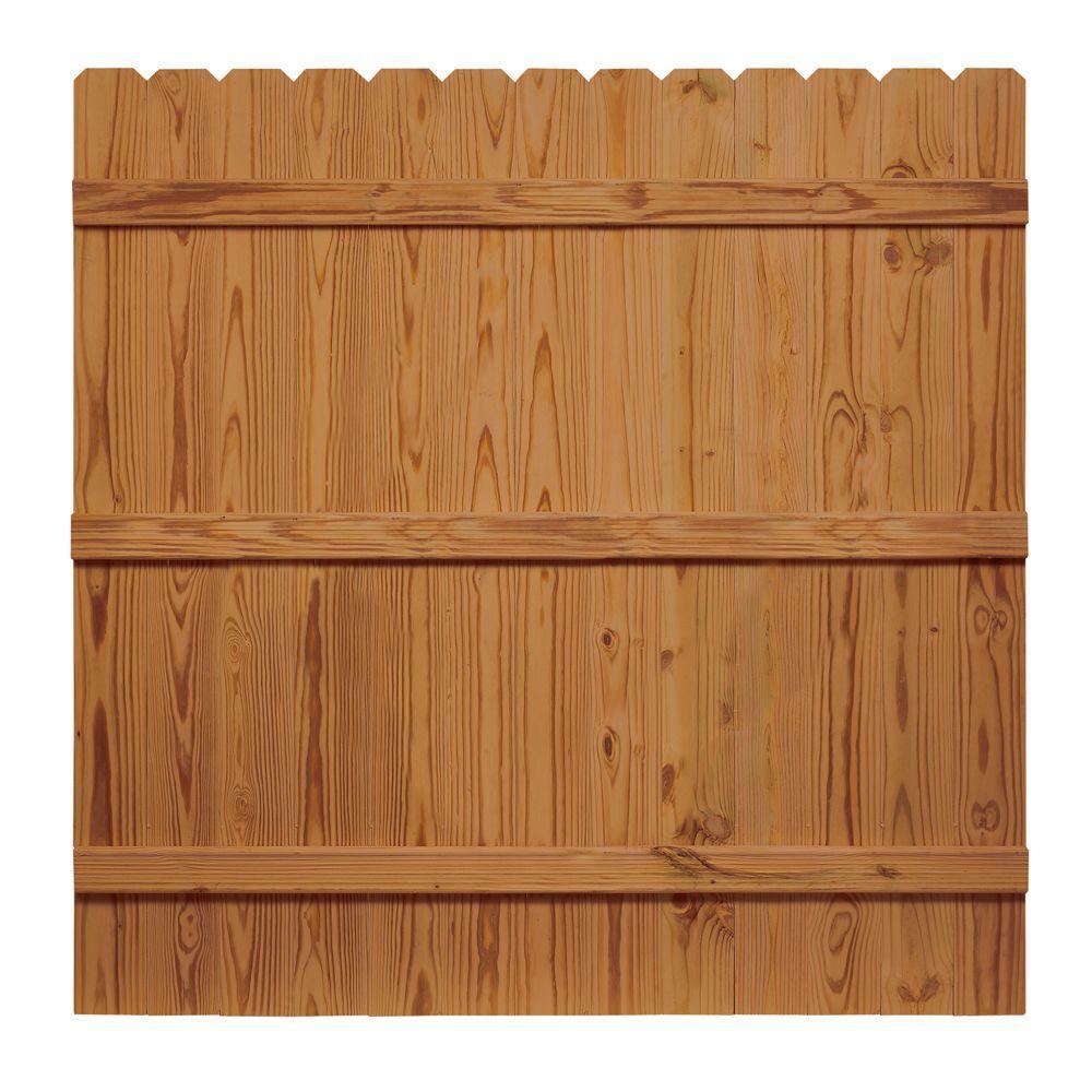 6 ft  x 6 ft  Pressure-Treated Cedar-Tone Moulded Wood Fence Panel Kit