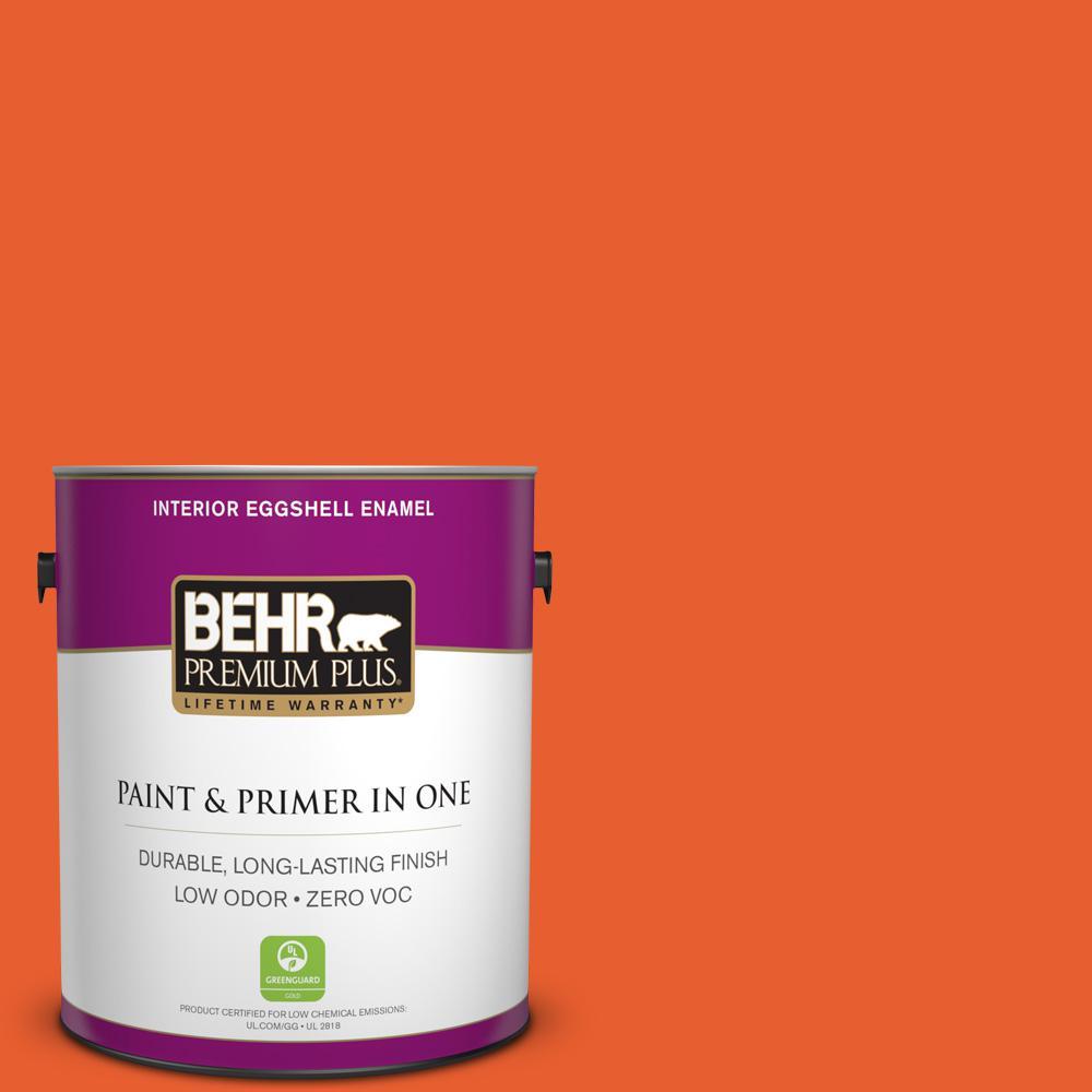 BEHR Premium Plus 1-gal. #S-G-230 Startling Orange Zero VOC Eggshell Enamel Interior Paint