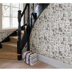 Chesapeake Adamstown Cream Vintage Newspaper Wallpaper by Chesapeake