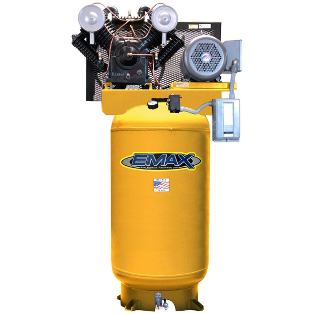 EMAX 80-Gal. 7.5 HP Quiet 600 RPM Piston 2-Stage 1-Phase Vertical Air Compressor-DISCONTINUED