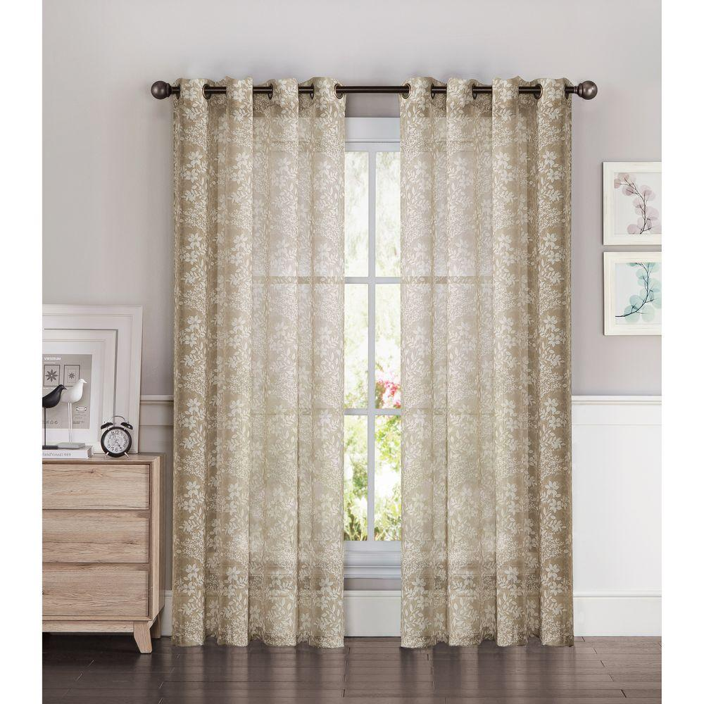 Window Elements Sheer Botanica Faux Linen 54 In W X 84 L Semi