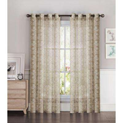 Sheer Botanica Faux Linen 54 in. W x 84 in. L Semi-Sheer Grommet Extra Wide Curtain Panel in Taupe