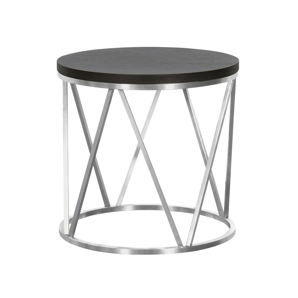Armen Living Grey Wood Top Contemporary Round End Table in Brushed