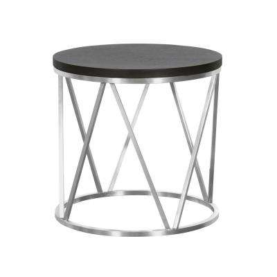 Armen Living Grey Wood Top Contemporary Round End Table in Brushed Stainless Steel