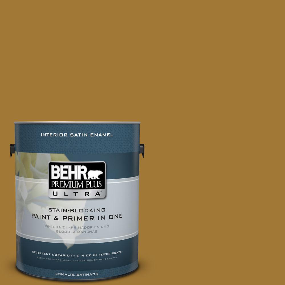 BEHR Premium Plus Ultra 1-gal. #320D-7 Victorian Gold Satin Enamel Interior Paint