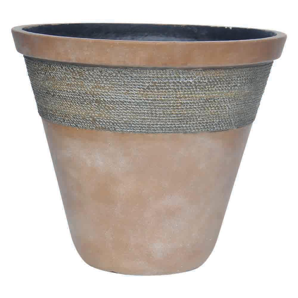 22 In D Composite Faux Woven Band Pot In White Wash Chocolate Brown Pc7823wwcb The Home Depot