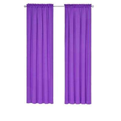 Tricia Thermapanel 52 in. W x 63 in. L Room-Darkening Window Curtain Panel Pair in Purple