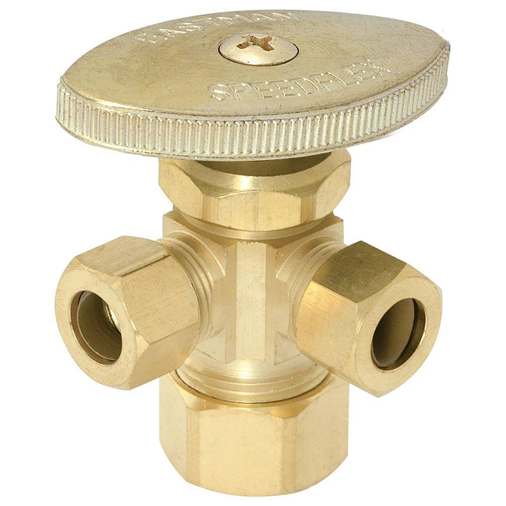 Eastman 5/8 in. Compression x 3/8 in. Compression x 3/8 in. Compression Brass Multi-Turn Dual Outlet Stop Valve