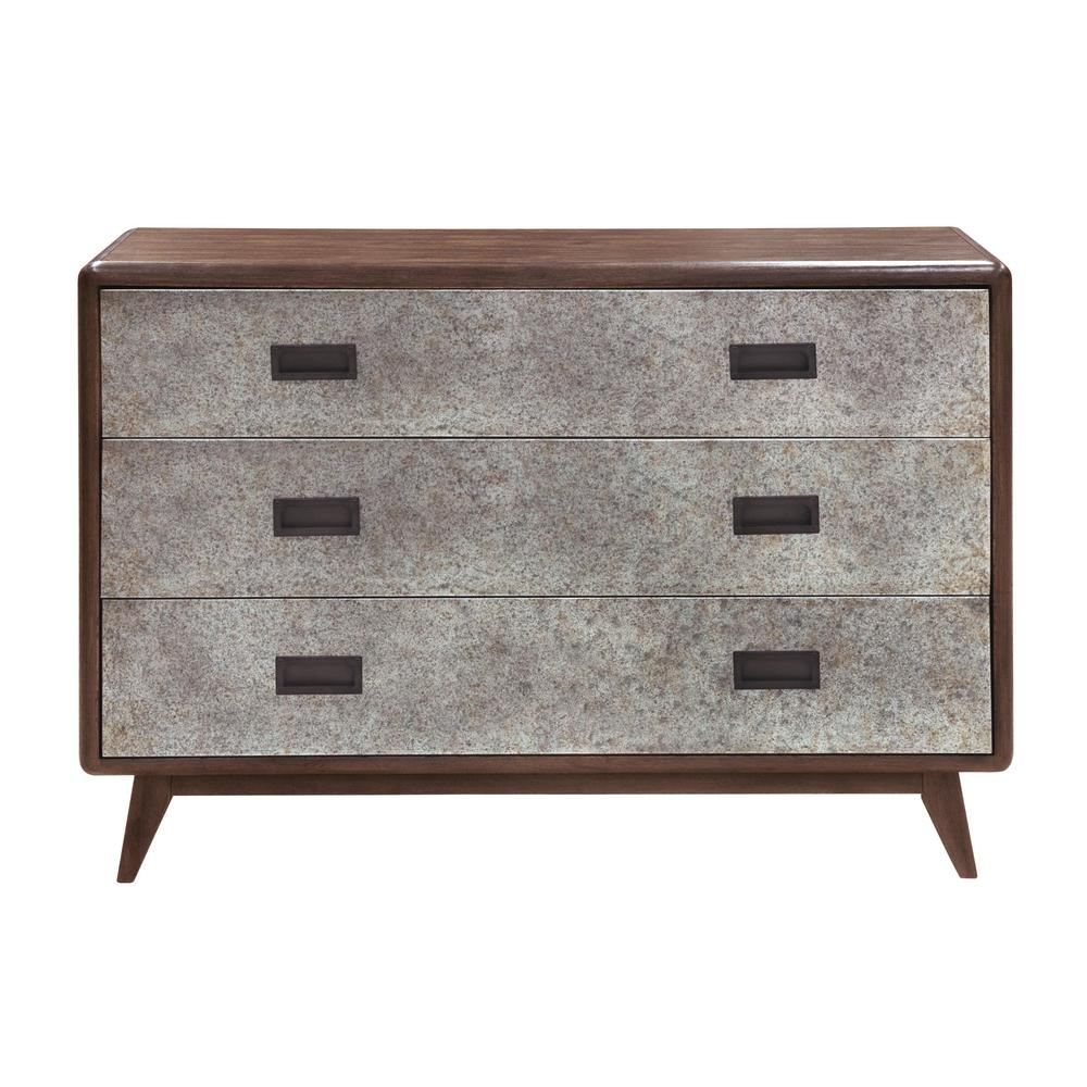 Metal Front Dark Oak Drawer Chest