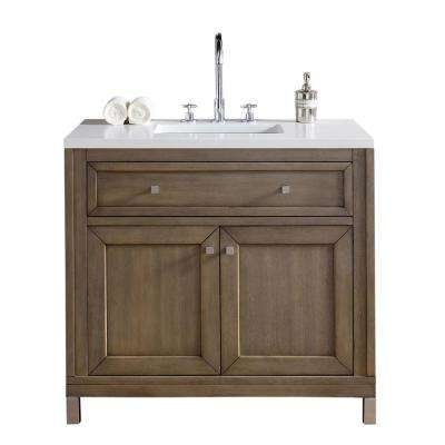Chicago 36 in. W Single Vanity in Whitewashed Walnut with Quartz Vanity Top in White with White Basin