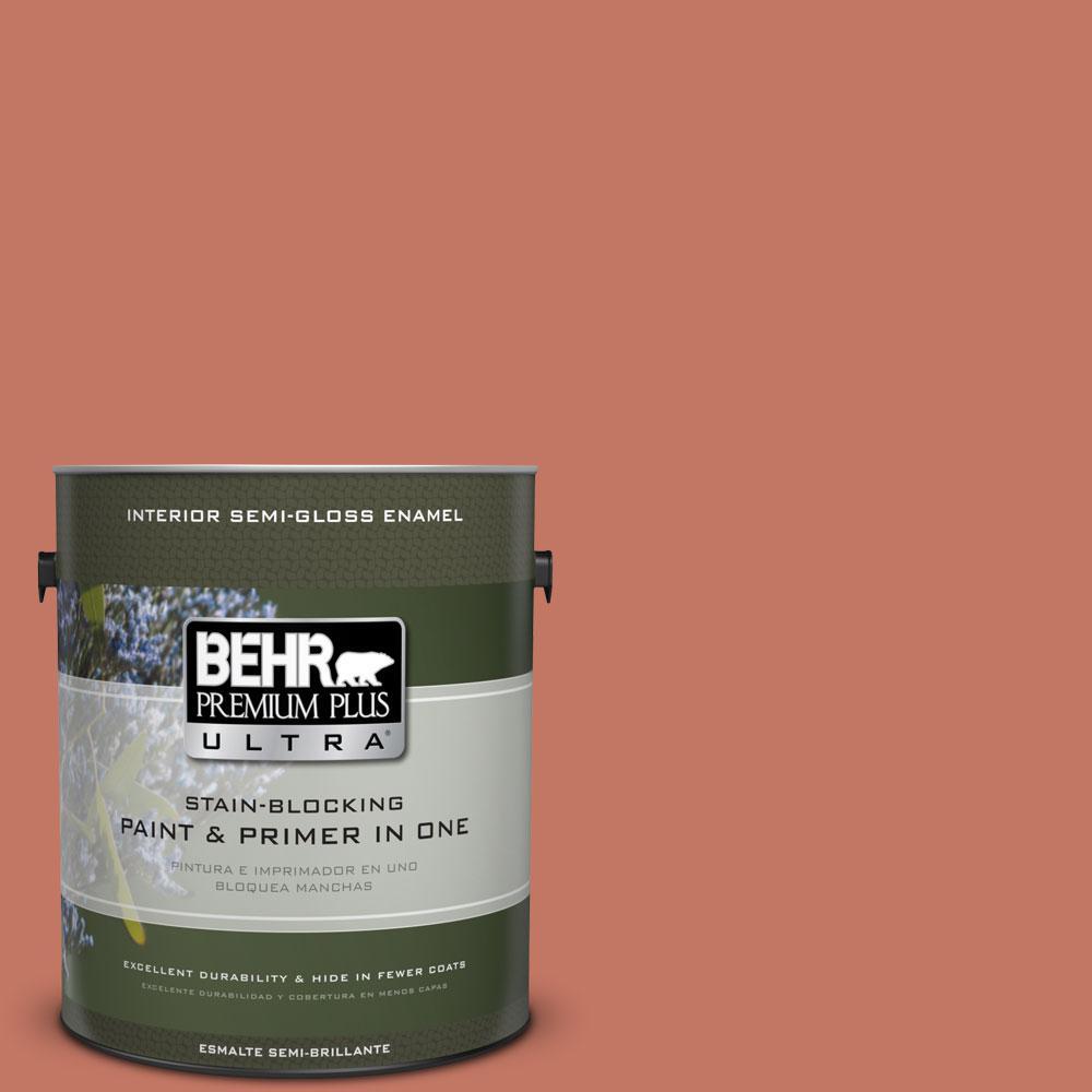 BEHR Premium Plus Ultra 1-gal. #210D-6 Caribbean Coral Semi-Gloss Enamel Interior Paint