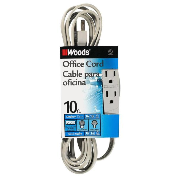 10 ft. Multi-Outlet (3) Medium-Duty Extension Cord, Gray