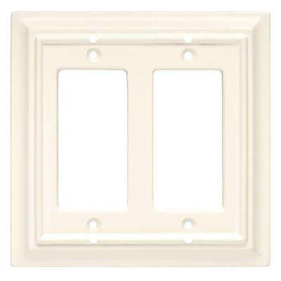 Architectural Wood Decorative Double Rocker Switch Plate, White