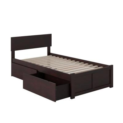 Orlando Espresso Twin XL Platform Bed with Flat Panel Foot Board and 2 Urban Bed Drawers