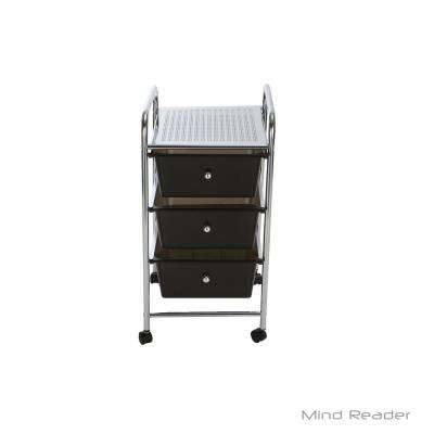 3-Tier Metal 4-Wheeled Storage Drawer Cart with 3-Drawers in Silver/Black