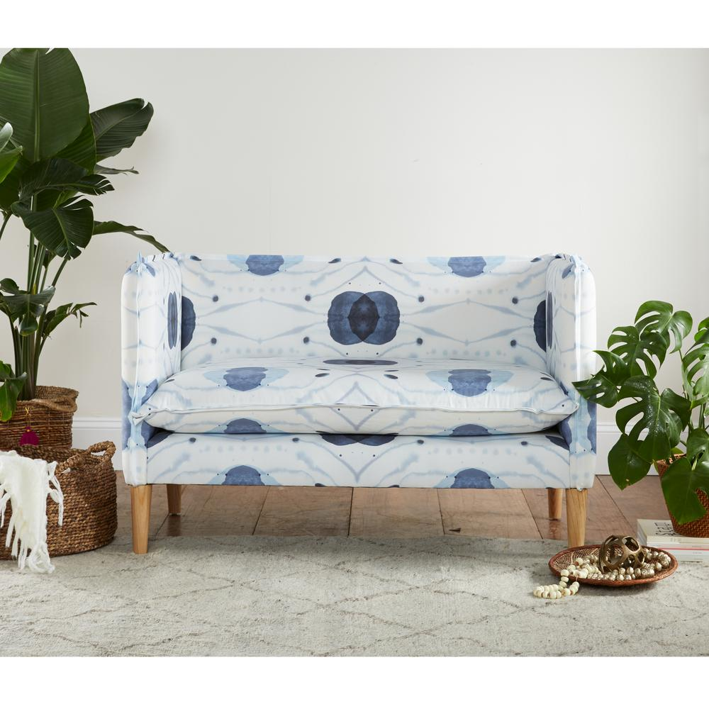 Skyline Furniture Delray Blue French Seam Settee