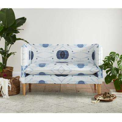 Delray Blue French Seam Settee