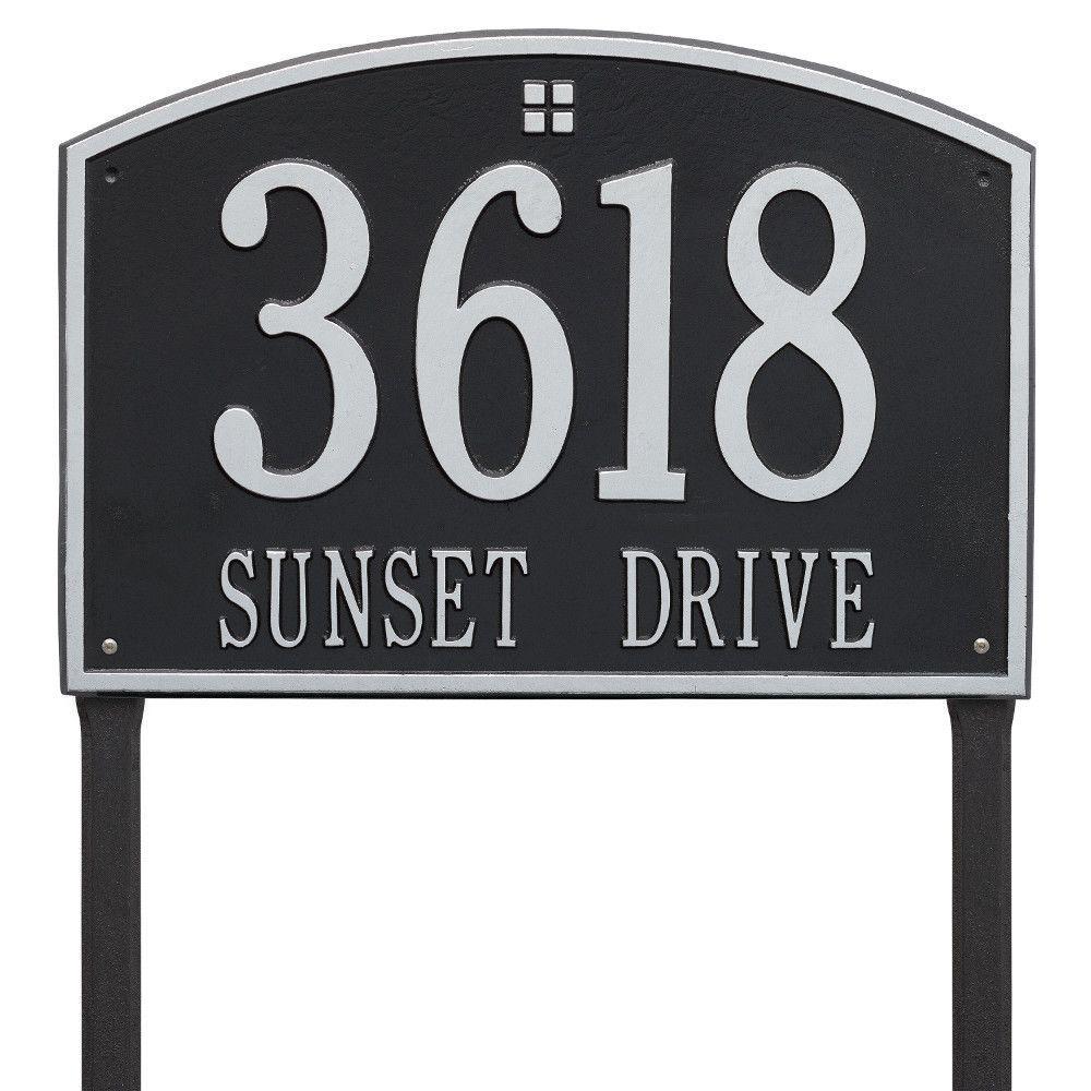 Cape Charles Estate Rectangular Black/Silver Lawn 2-Line Address Plaque