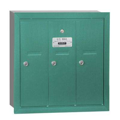 Green Recessed-Mounted USPS Access Vertical Mailbox with 3 Door