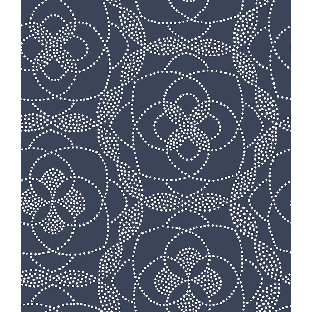 A street cosmos blue dot wallpaper 2697 22637 the home depot for Blue wallpaper for home
