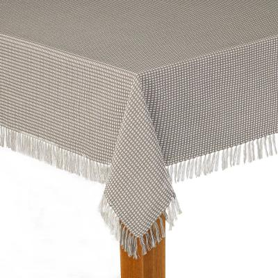 Homespun Fringed 52 in. x 52 in. Grey 100% Cotton Tablecloth